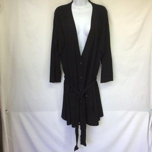 Alfani Black Long Button Front Belted Cardigan 2X